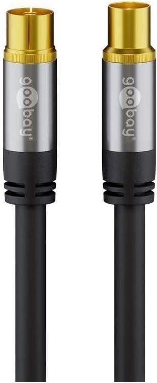 Cable de antena de televisión (135 dB, 4 conectores dorados, conector coaxial hembra hembra (1 m), color negro