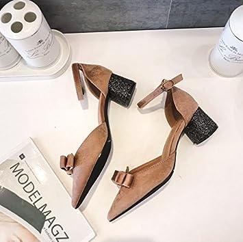 MDRW-Lady/Elegant/Arbeit/Freizeit/Feder Lady 3 Cm Spitz High-Heeled Schuhe Bug Diamond Mit Groben Wort Flachen...