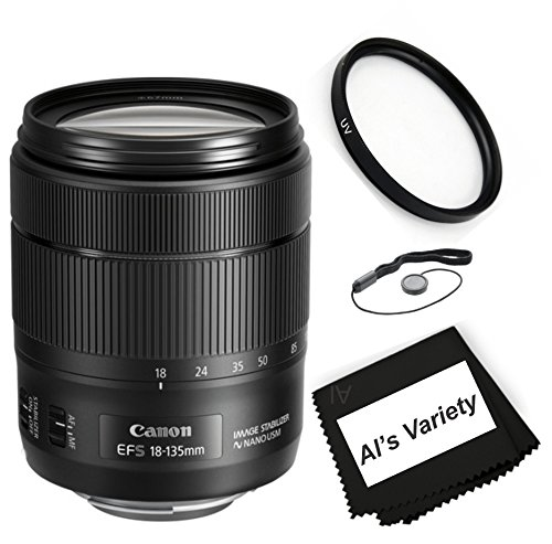 Canon EF-S 18-135mm f/3.5-5.6 IS USM Zoom DSLR Lens Bundle(White Box ) Kit With + High Definition UV Filter + Al's Variety Premium Cleaning Cloth by ALS VARIETY