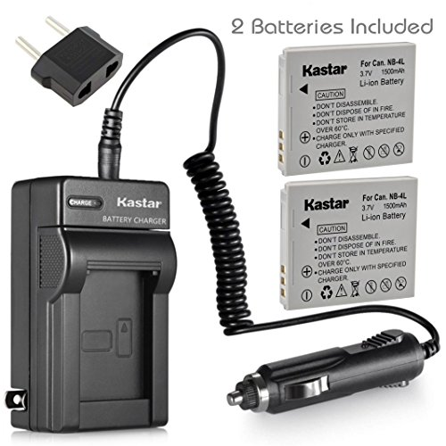 Kastar Battery (2-Pack) and Charger Kit for Canon NB-4L, CB-2LV and PowerShot SD400 SD430 SD450 SD600 SD630 SD750 SD780 is SD940 is SD960 is SD1000 SD1100 is SD1400 is TX1, ELPH 300 HS 310 HS 330 HS ()