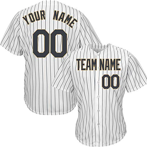 White Pinstriped Custom Baseball Jersey for Men Embroidered Your Name & Numbers,White-Black Gold Size L