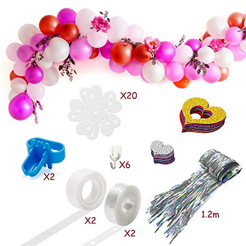 Balloon Arch Kit, HOPOPRO Upgraded Balloon Arch Kit with 32Ft Balloon Tape Strip, 2 Pcs Tying Tool, 200 Dot Glue, 20 Flower Clips, 6 Hooks, Foil Fringe Curtain, 100 Colorful Heart Confetti for Party