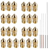 AFUNTA 24 Pieces M6 3D Printer Extruder Brass Nozzle Print Heads for 1.75mm MK8 Makerbot, ANET A8 and CR-10 Printer, 7 Sizes (0.2/0.3/0.4,/0.5/0.6/0.8/1.0mm) + 5 Sizes Nozzle Cleaning Needles