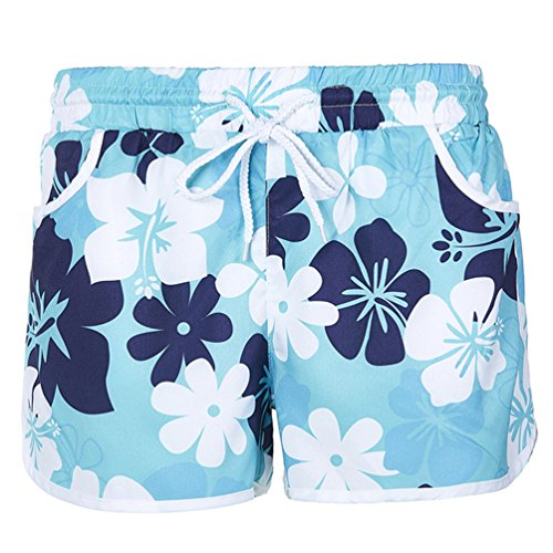 MEATHY Women's Floral Boardshort Elastic Waistband Beach Shorts With Drawstring