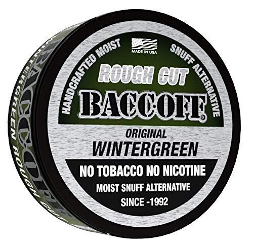 BaccOff, Original Wintergreen Rough Cut, Premium Tobacco Free, Nicotine Free Snuff Alternative (5 Cans)