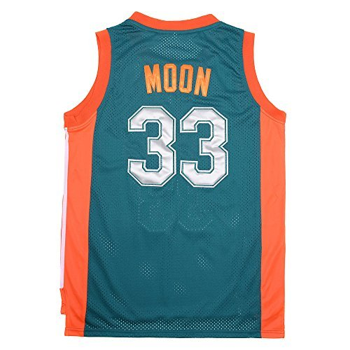 ZHUDEMAO NO.33 Jackie Moon Flint Tropical Semi-professional Basketball Movie Throwback Stitched Jerseys Green (Green Throwback Jersey)