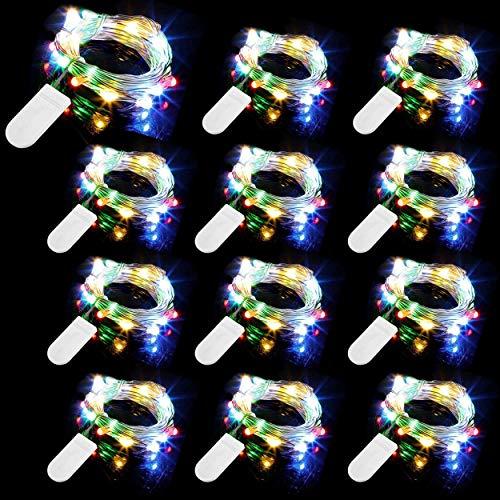 12 Piezas Cadena de Luces con Pilas, 20 LEDs 2M Alambre de Cobre Guirnaldas Luces, IP65 Impermeable Luces Decorativas…
