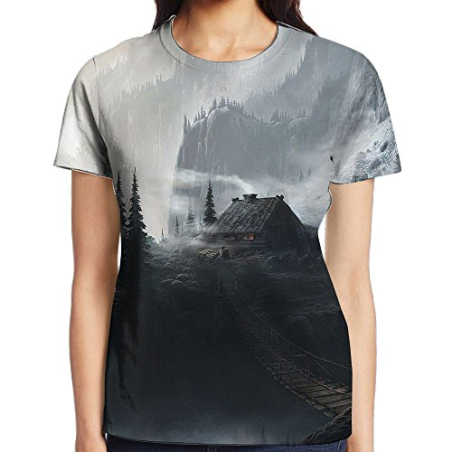 Cedar Quarter Round (Thirdoone Womens 3D Duplex Printing Amazing Dark Fantasy T-Shirt Outwear Short Sleeve Tops Round Neck T-Shirt Casual Novelty)