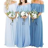 Miao Duo Off Shoulder Chiffon Bridesmaid Dress Boho A-Line Evening Gown Long