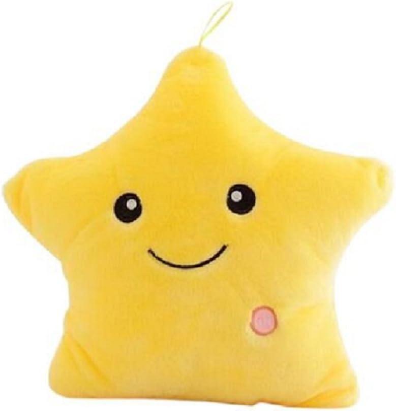 BESTOMZ Glowing LED Pillows Luminous Star Plush Cushion Light Up Throw Pillows Yellow