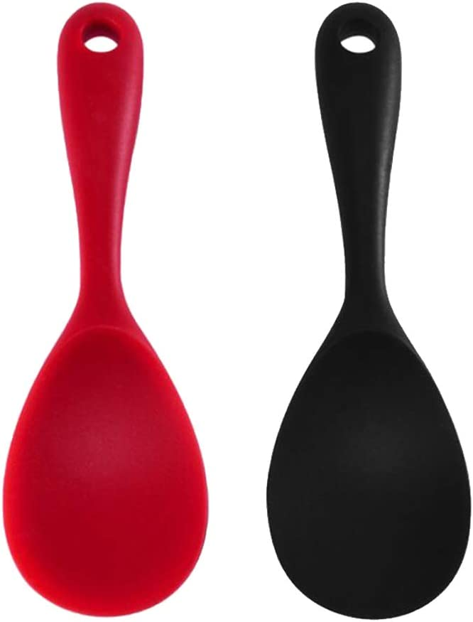 Red /& Black SaniMomo 2 Pack Rice Paddle Non-stick No Scratch Rice Spoon Rice Cooker Scoop Kitchen Tool