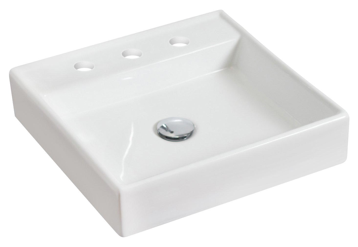 American Imaginations Square Shape Vessel, comes with an Enamel Glaze Finish in White Color and Designed for an 8-In. O.C. Faucet