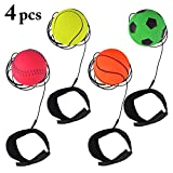 Joyibay 4PCS Wrist Band Ball Stress Relief Ball Rubber Bouncing Ball String Ball for Kids Adults