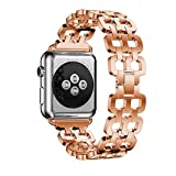For Apple Watch Series 42MM,Sunfei Genuine Stainless Steel Bracelet Smart Watch Band Strap (Rose Gold)