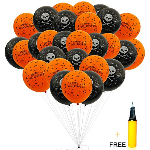 Halloween Balloons - 100 Pieces 12 Inches Orange and Black Balloons, Skeleton - Ghost Balloons with an Air Pump for Halloween Party Decor -