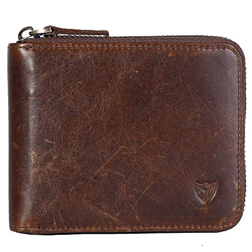 RFID Men's Leather Zipper wallet Zip Around Wallet Bifold Multi Card Holder Purse (Dark Coffee)