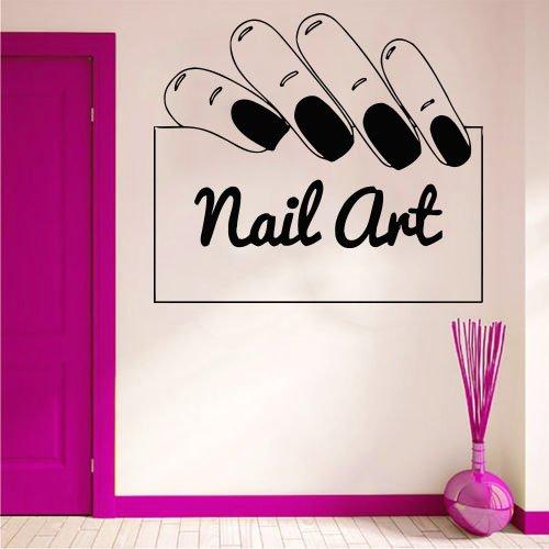 Wall Decal Window Sticker Beauty Salon Woman Face Nails Art Nail salon Manicure Design t213
