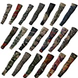 ieasysexy 20pc Fake Temporary Tattoo Sleeves Body Art Arm Stockings Accessories - Designs Tribal, Dragon, Skull, and Etc.