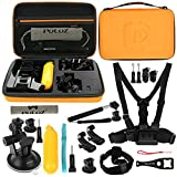 PULUZ 20 in 1 Accessories Combo Kit(Chest Strap/Head Strap/Suction Cup Mount/Pivot Arm/J-Hook Buckles/Extendable Monopod/Tripod Adapter/Bobber Hand Grip/Storage Bag/Wrench) for GoPro All Series,Xiaoyi