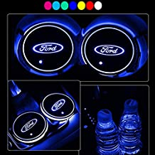 Lntly LED Car Logo Cup Holder Pad Waterproof Bottle Drinks Coaster Built-in Light 7 Colors Changing USB Charging Mat LED Cup Mat Car Atmosphere Lamp 2PCS