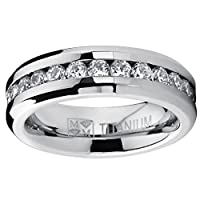 6MM Ladies Eternity Titanium Ring Wedding Band with CZ sizes 4 to 9