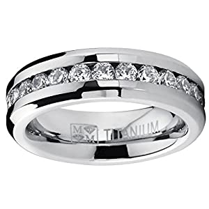 6MM Ladies Eternity Titanium Ring Wedding Band with CZ sizes 4 to 9