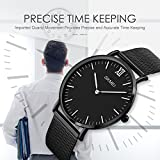 Mens Simple Analog Quartz Watch, Aposon Unique Luxury Dress Wrist Watch Thin Minimalism Business Casual Watch with Stainless Steel Mesh Band Water Resistant - Black