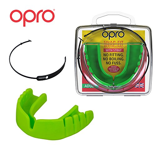 OPRO Mouthguard Snap-Fit Gum Shield + Strap for Ball, Combat and Stick Sports - No Boiling or Fitting Required -18 Month Warranty (Adult and Kids Sizes) (Neon Green, Kids)