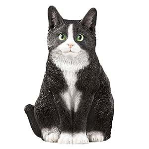 Collections Etc Pretty Kitty Cat Garden Figurine, Tuxedo Cat