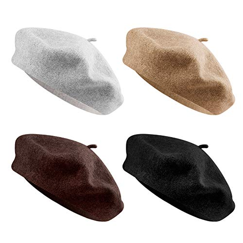 QUACOWW 4 Pieces Beret Hat French Style Beanie Hats Fashion Ladies Beret Caps Outdoor Hat