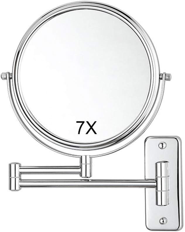 Allungabile per Bagno Specchio Ingranditore Girevole Bifacciale Specchio Ingranditore da Parete 7 x // 1 Fissato al Muro Specchio per Trucco Girevole Hotel Spa