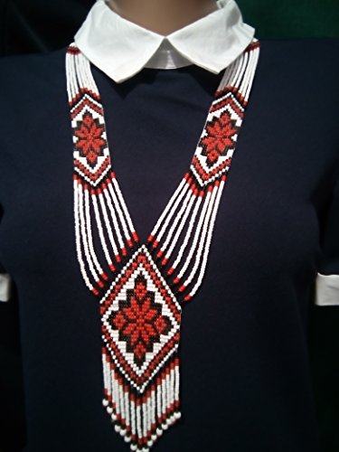 Ukrainian Folk National Costumes (Ukrainian Ethnic Gerdan, Red-Black-White Beaded Long Necklace)