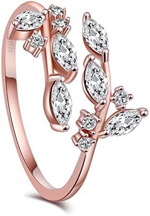 KOREA-JIAEN branch Ring S925 Sterling Silver 5A Level Cubic Zirconia Adjustable Opening Ring (Rose gold)