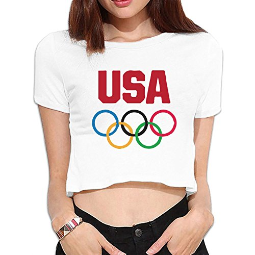 Price comparison product image women's U.S. flag Olympic rings Team USA bare midriff crop top T-shirts Black S