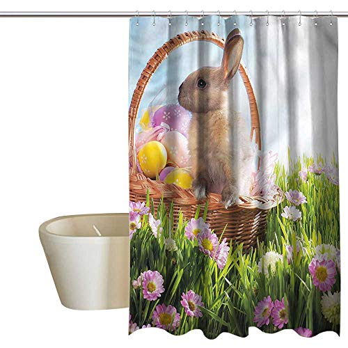 RenteriaDecor Shower Curtains for Bathroom White and Gray Easter,Egg Basket Cute Bunny Grass,W48 x L84,Shower Curtain for clawfoot tub]()