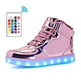 Voovix Kids LED Light up Shoes High-top Flashing Sneakers with Remote Control for Boys and Girls(pink01,US11.5/CN30)