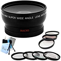 SaveOn Professional HD Wide Angle Lens + Multi-Coated 3pc Filter Kit + Macro Close-Up Filter Set + Complete Lens Cleaning Kit w/ Microfiber Cleaning Cloth for Canon EOS 7D,40D,T4i,XSi Digital Cameras 67mm