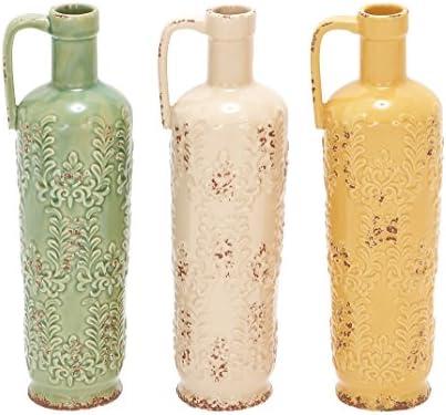 Deco 79 Ceramic Vase, 3 Assorted, 14 by 5