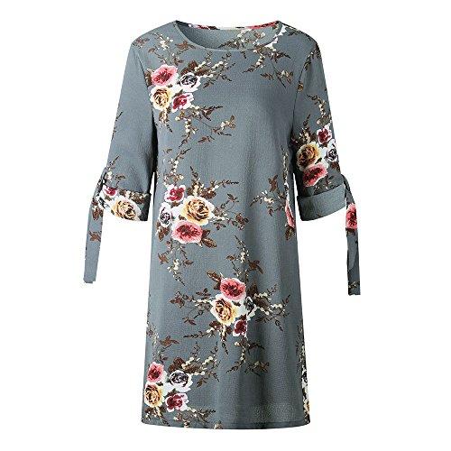 iLUGU O-Neck Half Sleeve Mini Dress for Women