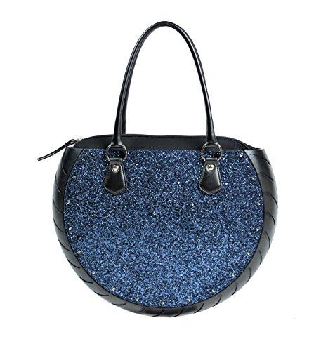 Ty's Bag, Borsa Donna GLITTER BLU, colore Blu, in Tessuto Glitterato e Gomma, Made in Italy