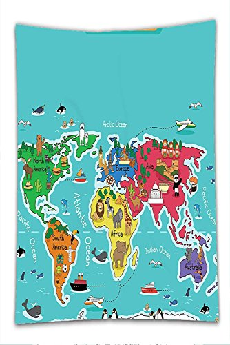 Dwarf Costume Australia (Nalahome Fleece Throw Blanket Colorful Educational Kids Maps Decor Collection North South America Africa Asia Australia Pacific Indian Atlantic Ocean)