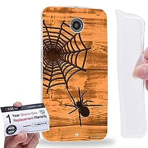 Case88 [Motorola Nexus 6] Gel TPU Carcasa/Funda & Tarjeta de garantía - Art Print Spider Web Wood Art