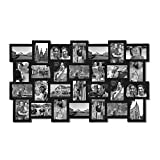 photo collage frames large - Adeco PF0553 28-Opening Black Wood Basket-Weave Design Wall Hanging Collage Photo Frame, 4 by 6