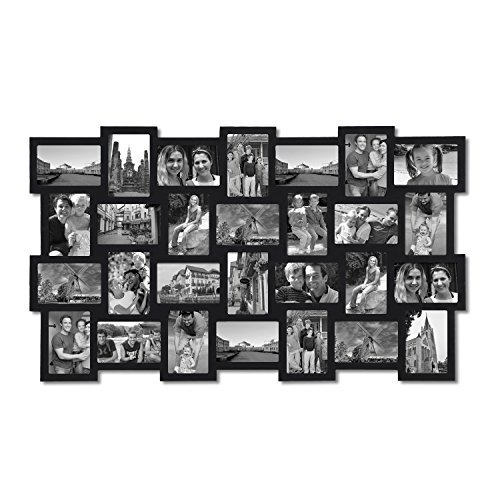 Adeco 28-Opening Black Wood Basket-Weave Design Wall Hanging Collage Photo Frame, 4 by 6