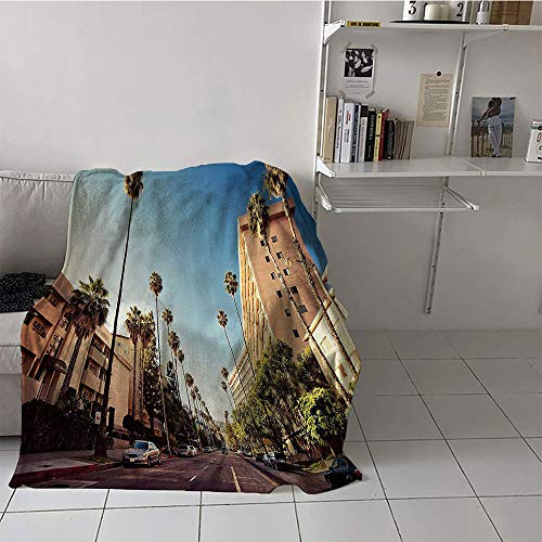 Khaki home Children's Blanket Boys Blanket for Sofa Couch Bed (50 by 60 Inch,Urban,A Street in Beverly Hills California Palm Trees Houses Famous City Photo,Light Blue Peach Green