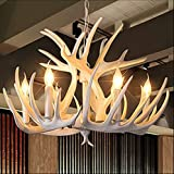 Y-ZH.White antler chandelier Creative and elegant residential lamp Continental and Pastoral style country living room dining room chandelier antler bar branches resin pendant,6