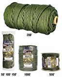 TOUGH-GRID 750lb Camo Green Paracord / Parachute Cord - Genuine Mil Spec Type IV 750lb Paracord Used by the US Military (MIl-C-5040-H) - 100% Nylon - Made In The USA. 200Ft. - Camo Green