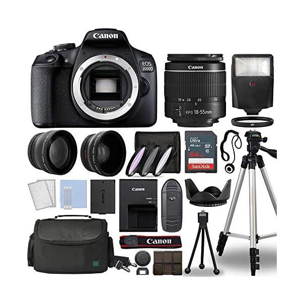 Canon EOS 2000D / Rebel T7 Digital SLR Camera Body w/Canon EF-S 18-55mm f/3.5-5.6 Lens 3 Lens DSLR Kit Bundled