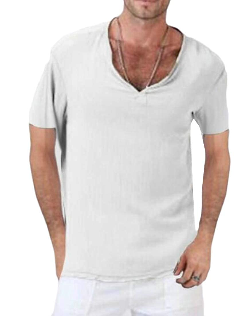 Joe Wenko Men V-Neck Pure Colour Comfortable Summer Short Sleeve Tops T-Shirt