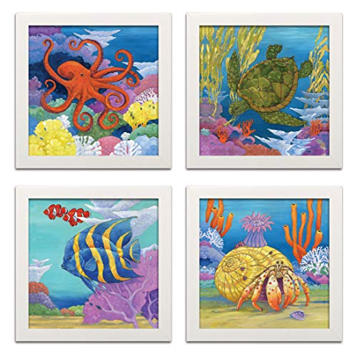 Gango Home Decor Fun Colorful Under The Sea Coastal Crab, Turtle, Clown Fish and Octopus; Four 12 by 12-Inch White Framed Prints; Ready to Hang!